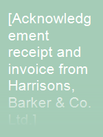 [Acknowledgement receipt and invoice from Harrisons, Barker & Co. Ltd.]