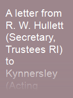 A letter from R. W. Hullett (Secretary, Trustees RI) to Kynnersley (Acting Colonial Secretary, Singapore, SS) dated 19 Nov 1898 objecting to the building of a town hall and theatre between RI and the sea